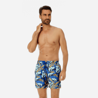 Men Ultra-light classique Printed - Men Ultra-Light and packable swimtrunks Sydney - Web Exclusive, Sea blue frontworn