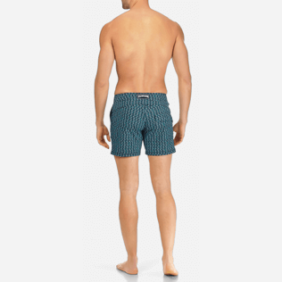 Men Short, Fitted Printed - Men Short and Fitted Stretch Swimwear Modernist Fish, Navy backworn