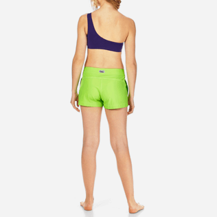 Women Shorties Solid - Women Stretch Swimwear fabric Shortie Solid, Wasabi backworn