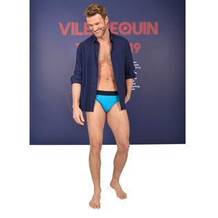Men swim brief and navy look,  front