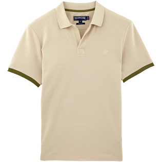 Men Polos Solid - Fitted Solid Cotton pique polo, Hemp front