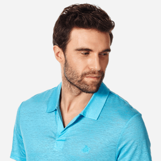 Men Others Solid - Men Linen Jersey Polo Shirt Solid, Horizon supp1