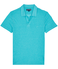 Men Others Solid - Men Linen Jersey Polo Shirt Solid, Azure front