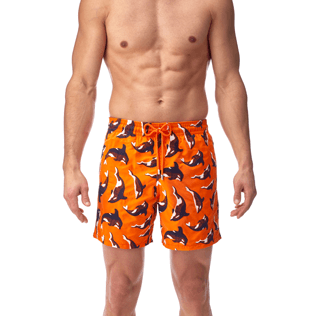 Men Classic / Moorea Embroidered - Galak Embroidered Swim shorts, Papaya supp2