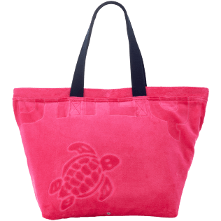 Men Bags Solid - Jacquard Uni Terry beach bag, Shocking pink front