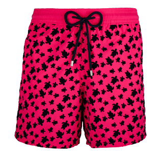 Men Classic Printed - Men Swimtrunks Flocked Micro ronde des tortues, Shocking pink front