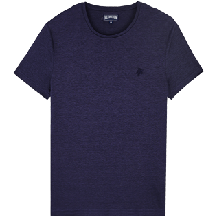 Men Others Solid - Men Linen Jersey T-Shirt Solid, Midnight blue front