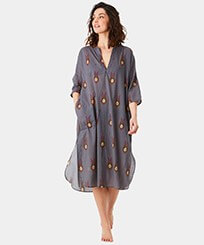 Women Others Printed - Women Cotton Long Cover-up Paon Paon, Navy frontworn