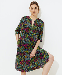 Women Others Printed - Women Cotton Linen Dress Evening Birds, Black frontworn