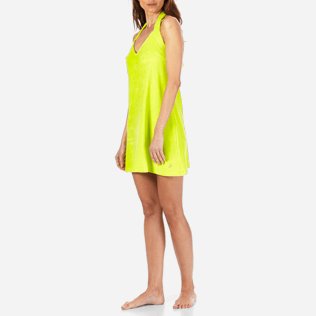 Women Others Solid - Women Short Halter Terry Cloth Dress Solid, Chartreuse frontworn