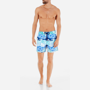 Men Classic Printed - Men Swimtrunks Vague Heritage, Navy frontworn