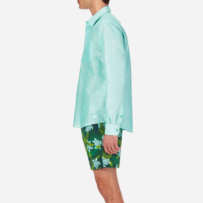 Vilebrequin - Camisa en lino de algodón liso para hombre - 7