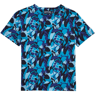 Others Printed - Camouflage Turtles Round neck T-Shirt, Azure front