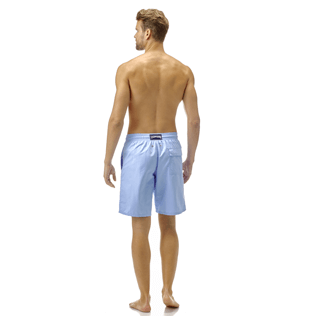 Men Long classic Solid - Solid Long Cut Swim shorts, Sky blue backworn