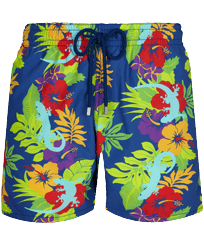 Men Classic Printed - Men Swim Trunks Les Geckos, Batik blue front