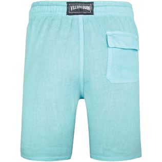 Men Others Solid - Men Italian Pockets Linen Bermuda Shorts Solid, Lagoon back