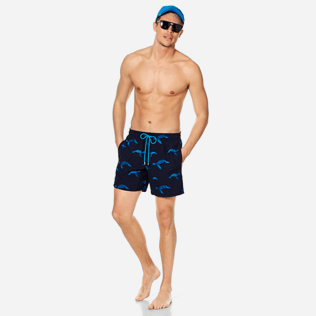 Men Embroidered Embroidered - Men Swim Trunks Embroidered Origami Turtles - Limited Edition, Midnight blue supp2