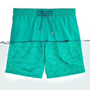 Men Classic / Moorea Printed - Water-reactive Sardines à l'Huile Swim shorts, Veronese green front