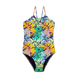 Girls Others Printed - Girls One piece Swimsuit Jungle, Midnight blue front