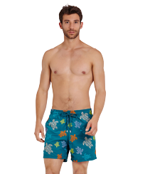 Men Classic Embroidered - Men Swim Trunks Embroidered Ronde des tortues - Limited Edition, Pine wood frontworn