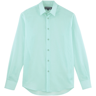 Men Shirts Solid - Solid Cotton veil shirt, Frosted blue front