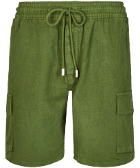 Men Others Solid - Men Linen Bermuda Shorts cargo pockets, Sycamore front