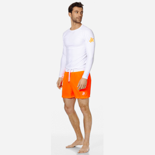 Men Ultra-light classique Solid - Men Swim Trunks Ultra-Light and Packable Solid Bicolore Fluo, Neon orange supp2