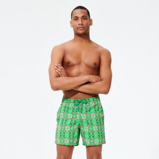 Men Classic Embroidered - Men Swimwear Embroidered Sweet Fishes - Limited Edition, Grass green frontworn