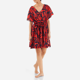 Women Others Printed - Silex Fishes Cover-up V Neck, Poppy red frontworn