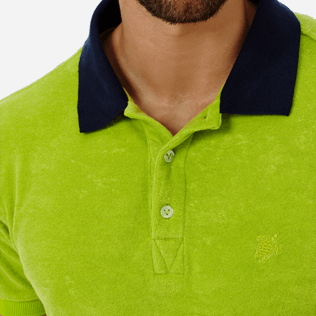Men Others Solid - Men Terry Cloth Polo Shirt Solid Contrasted, Cactus supp1
