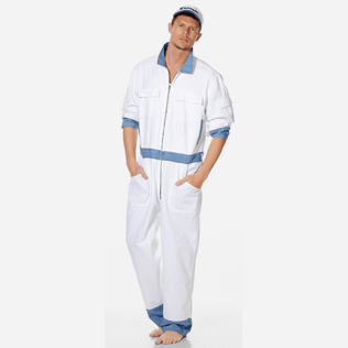 Men Others Solid - Men Cotton Linen Jumpsuit, White supp2