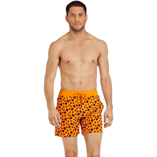 Men Classic Printed - Men Swimtrunks Flocked  Micro ronde des tortues, Safran frontworn