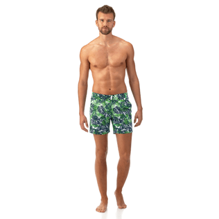 Men Fitted Printed - Madrague Fitted cut Swim shorts, White frontworn
