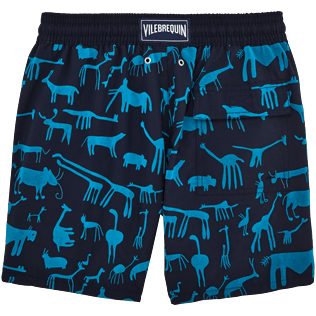 Men Classic / Moorea Printed - Primitive Art Flocked Swim shorts, Navy back