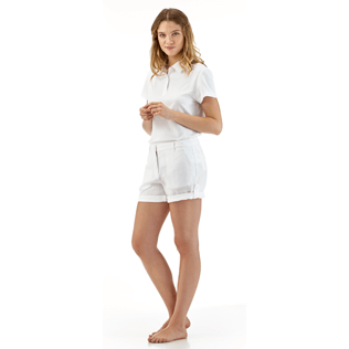 Women Others Solid - Solid Linen Bermuda shorts, White supp3