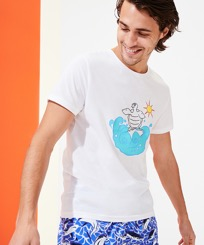 Men Others Printed - Men Organic Cotton T-shirt Surf, White frontworn