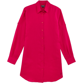Women Others Solid - Women Long Linen Shirt Solid, Gooseberry red front