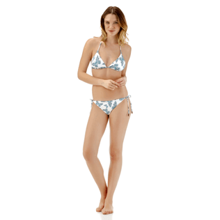 Women Tops Printed - Butterflies Triangle bikini top, Azure supp1