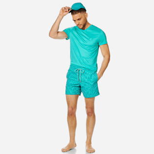 Men 017 Embroidered - Men Swim Trunks Embroidered Armor Turtles - Limited Edition, Veronese green supp2