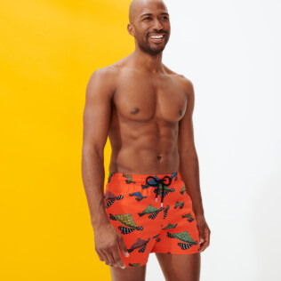 Men Stretch classic Printed - Men Stretch Swimwear Turtle Swim, Medlar frontworn