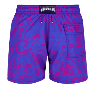 Men Classic Printed - Men Swimwear Cabines de plage, Royal blue back