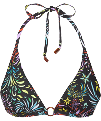 Donna Foulard Stampato - Top bikini donna all'americana Evening Birds, Nero front