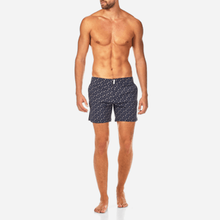 Men Fitted Printed - Micro Ronde des Tortues Superflex Fitted cut Swim shorts, Navy frontworn