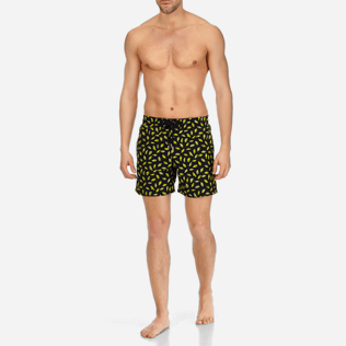 Men Embroidered Embroidered - Men Swimtrunks Embroidered Mini Fish - Limited Edition, Black frontworn