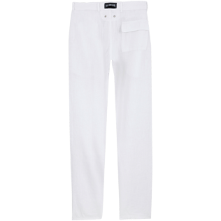 Men Others Solid - Men straight Linen Pants Solid, White back