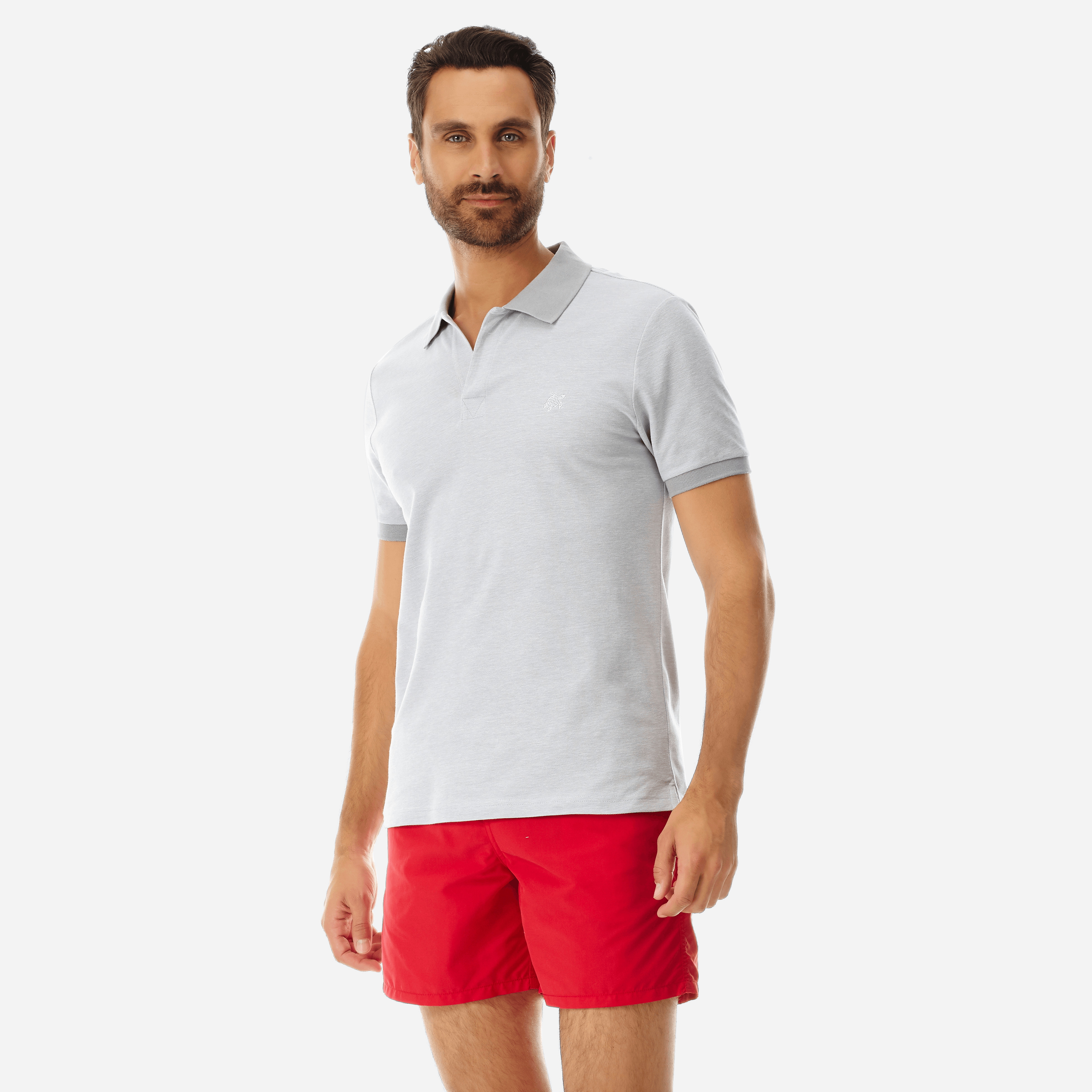 PRET A PORTER HOMME - Polo en Piqué de Coton Homme Uni - POLO - PALATIN - Gris - L - Vilebrequin
