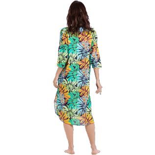 Women Others Printed - Women Cotton Voile Long Solid Dress Jungle, Midnight blue backworn