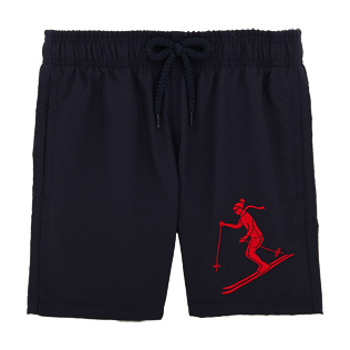 Boys Classic / Moorea Embroidered - Ski Resort Embroidered Swim Shorts, Navy front