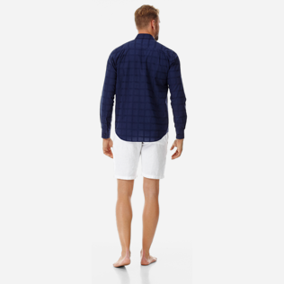 Altri Grafico - Camicia unisex in cotone Carreaux, Blu marine backworn