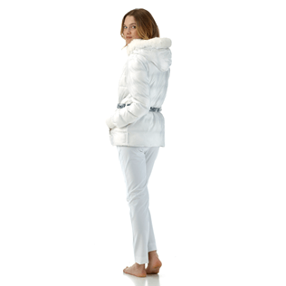 Women Vests AND Jackets Printed - Snow Tiger Reversible Down Jacket, White supp2